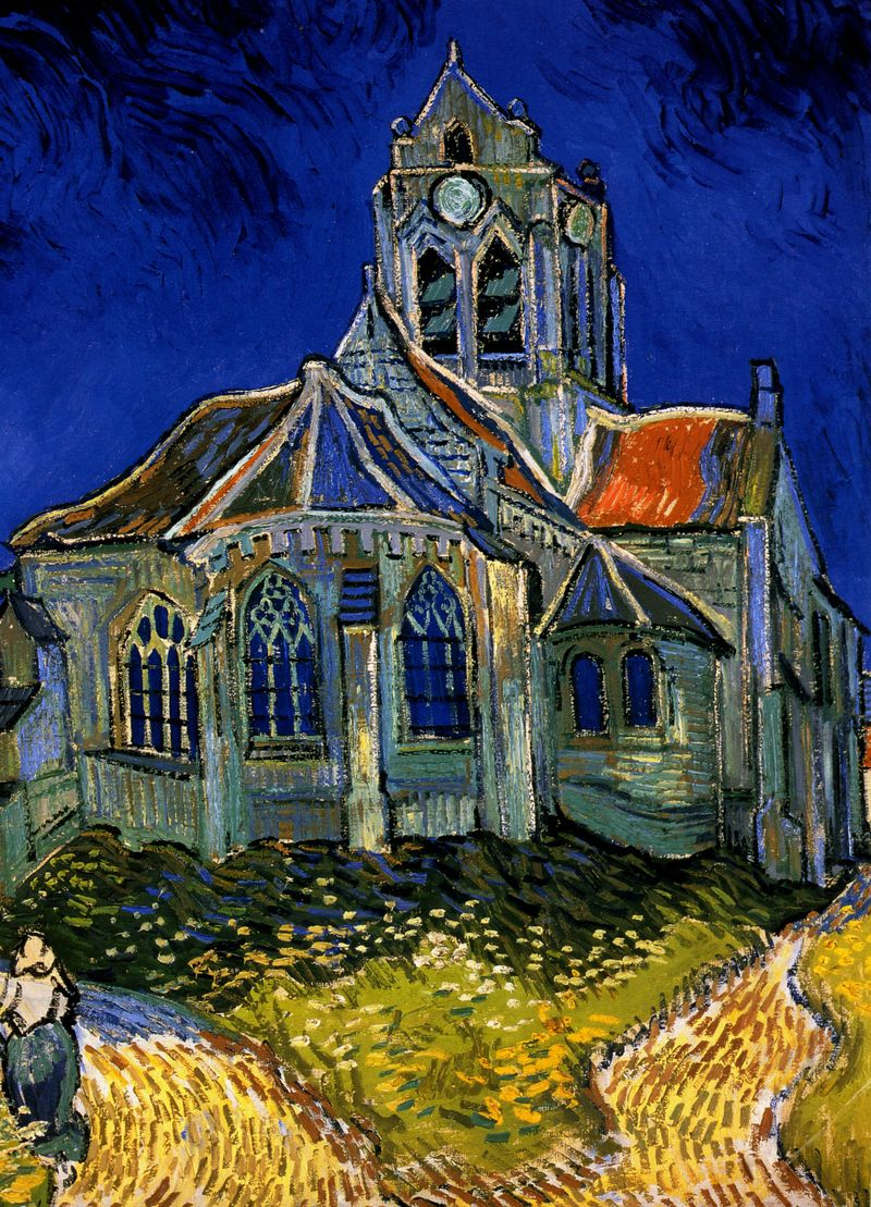 1890-Van-Gogh-LEglise-dAuvers-sur-Oise-The-Church-of-Auvers-on-OiseHuile-sur-toile-51x51-cm